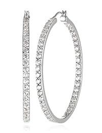 """Platinum or Gold-Plated Sterling Silver Swarovski Zirconia Round-Cut Hoop Earrings, 1.5"""" Diameter"""
