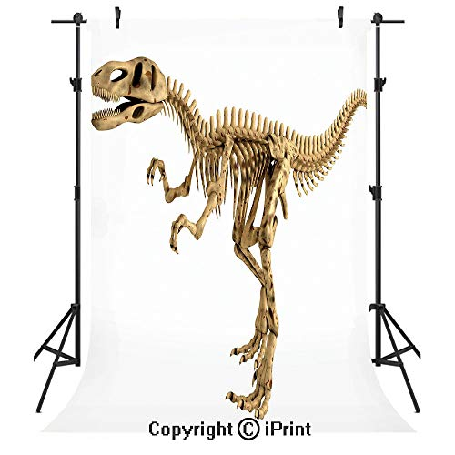 (Dinosaur Photography Backdrops,Fossil Dino Skeleton Bones Realistic Image Dangerous Dead Extinct Reptile,Birthday Party Seamless Photo Studio Booth Background Banner 3x5ft,Light Brown White)