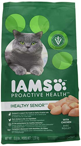 Iams Proactive Health Healthy Senior Dry Cat Food With Chicken, 3.5 Lb. Bag (Soft Dry Cat Food For Senior Cats)