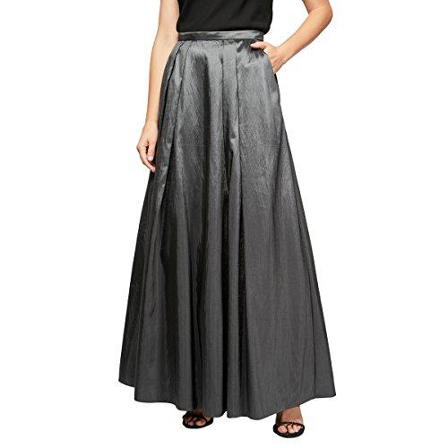 Alex Evenings Women's Long Skirt Various Styles (Petite and Regular Sizes), Gunmetal Taffeta -