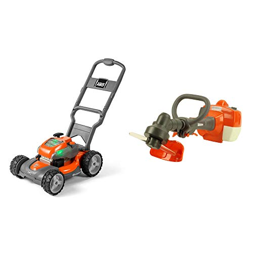 Husqvarna Battery Powered Kids Toy Lawn Mower + Toy Weed Trimmer with Sounds