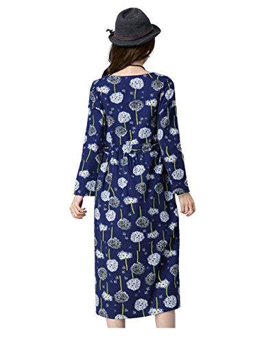 Stile Elegante Dolce Elastiche Collo Vestito A Donne Lunghe Stampa Intorno Blu Yiwa Di Al Largo Canapa Maniche Di Abito Marina Fiori Vita EC7q4