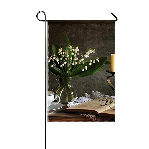 Lily Candlestick - DongGan Garden Flag Lilies of The Valley Bouquet Vase Candles Candlestick Book Glasses Tea Pair Napkin 12x18 Inches(Without Flagpole)