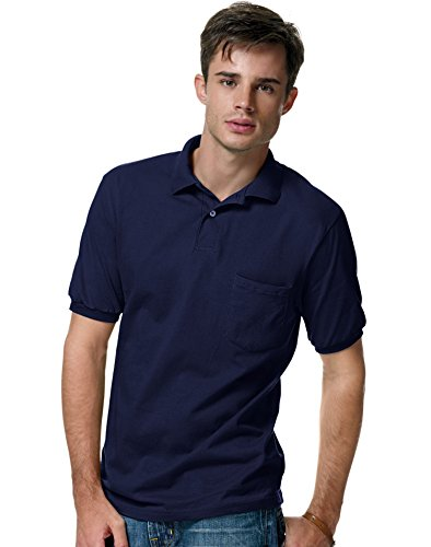Hanes Men's 5.2 oz Hanes STEDMAN Blended Jersey Pocket Polo, S-Deep (50 Blended Jersey Polo)