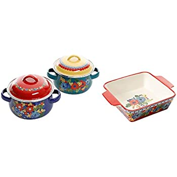 The Pioneer Woman Dazzling Dahlias Mini Dutch Ovens, Set of 2 includes an 8-Inch Square Baker