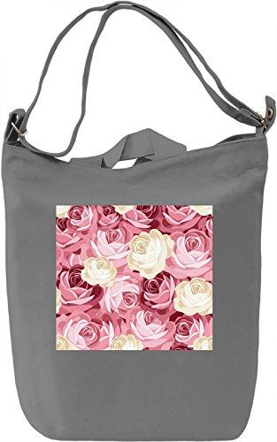 Roses Pattern Borsa Giornaliera Canvas Canvas Day Bag  100% Premium Cotton Canvas  DTG Printing 