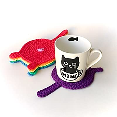 Handmade custom color crochet cat butt coasters (Set of 4)