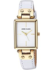 Anne Klein Womens AK/3204WTWT Gold-Tone and White Leather Strap Watch