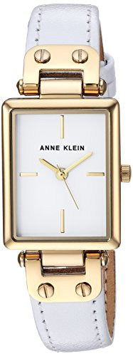 Anne Klein Women's AK/3204WTWT Gold-Tone and White Leather Strap (Womens White Leather Strap)