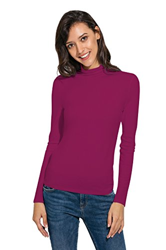 APRLL Women Basic Slim Long Sleeve Soft Turtleneck T Shirt Blouse Tops, X-Small, Rose Red