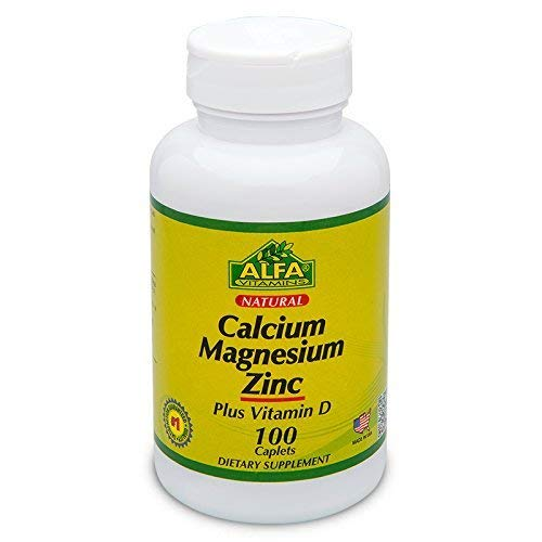 Calcium Magnesium Zinc Calcium Supplement 100 Caplets - Healthy Bone Structure by Alfa Vitamins