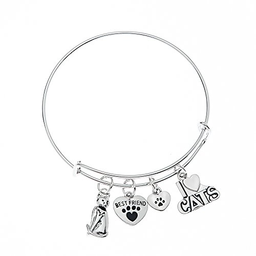 Cat Bracelet, Cat Jewelry, Kitty Cat Charm Bracelet, Paw Bracelet- Pet Jewelry- Cat Lover Gifts