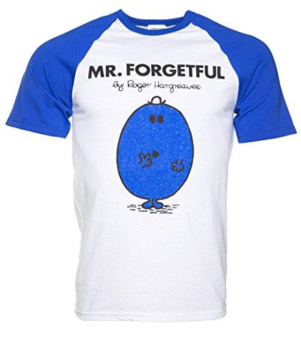 Mens White And Blue Mr Forgetful Mr Men Baseball T Shirt