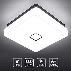 Onforu 24w LED Ceiling Light, 2100LM IP65 Waterproof Super Bright Flush Square Bathroom Lights, CRI90 5000K Daylight White Wall Mounted Ceiling Lamp for Living Room, Bedroom, Kitchen
