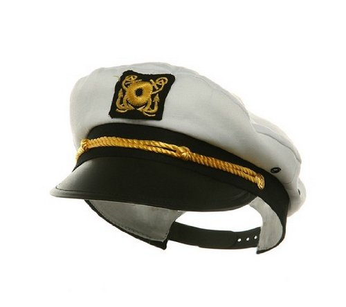 [Adult Ship Navy Officer Yacht Sea Skipper Captain Hat Cap Costume Accessory] (College Humor Costumes)