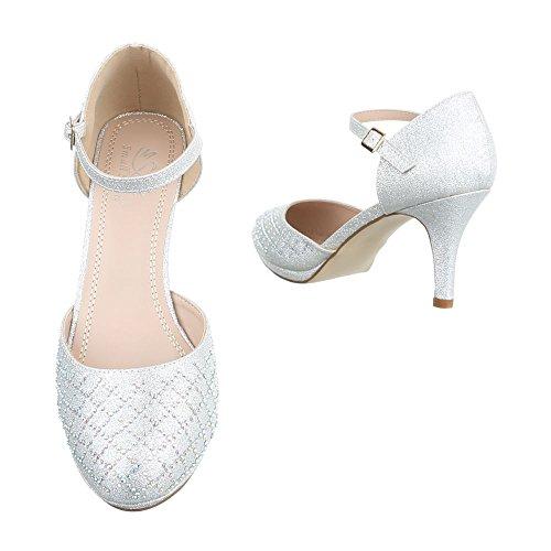 Damen Pumps Schuhe High Heels Stöckelschuhe Stiletto Rot Rot Schwarz Gold Silber Weiß 36 37 38 39 40 41 Silber