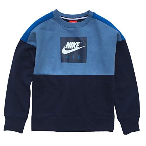 Nike Air Swoosh Big Boys' Crewneck Long Sleeve Sweatshirt (Blue, Small)