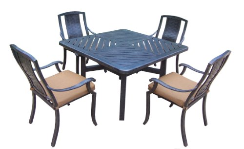 Oakland Living Vanguard 5-Piece Furniture Set with 48 by 48-Inch Square Table and 4 Sunbrella Cushioned Stackable Chairs