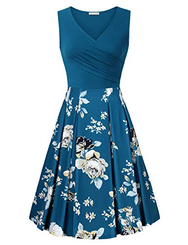 Waist V-neck Jersey Empire (Furnex Dresses for Work, Fall Dresses for Women Floral Midi Sleeveless Aline Fit and Flare V-Neck Jersey Dress for Work Casual(Multicolor Cyan,X-Large))