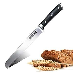 SHAN ZU Cuchillo para Pan de Acero Inoxidable 20 cm Cuchillo de Pan Cuchillo de Cocina - Classic Series