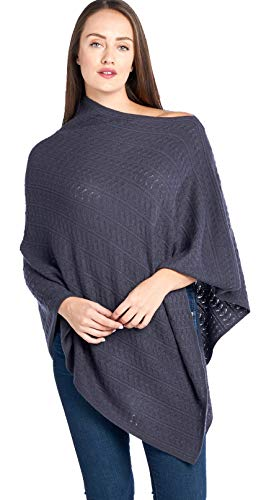 Mariyaab Women's 100% Cashmere Soft Knitted Travel Wrap Poncho Sweater(PS18L, Excalibur, L/XL)