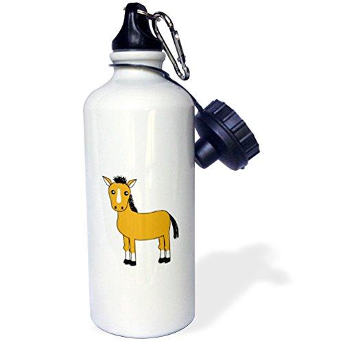3dRose wb_6335_1 Cute Brown Horse Sports Water Bottle, 21 oz, White