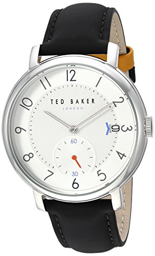 Ted Baker Men's Oscar Stainless Steel Analog-Quartz Watch with Leather Strap, Black, 18 (Model: TE50015005)