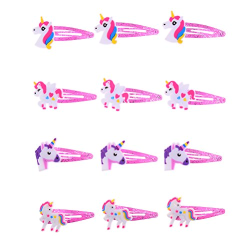 CosCosX 12 Pcs Cute Unicorn Hair Clips Pink Hairpin for Baby Girls Barrette Headdress Hair Accessories (Pin Little Pink Dress)