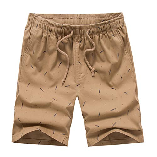 Men's Loose Short Pants, Fashion Casual Printing Patchwork Beach Shorts Surfing Swimming Short Trouser ❤️Sumeimiya Khaki