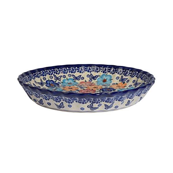 Traditional Polish Pottery, Round Pie or Casserole Baking Dish 10in / 25cm, Boleslawiec Style Pattern, O.201.Meadow