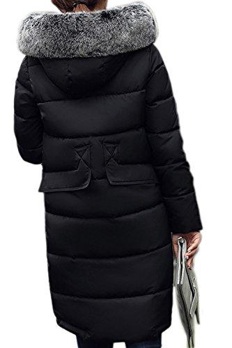 Elegante sudadera con capucha larga lana abrigos abrigo mujeres de con bolsillos Black