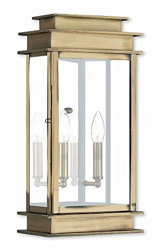 Interpretations Outdoor Fixture - Livex Lighting 2018-01 Princeton 2 Light AB Outdoor Wall Lantern, Antique Brass