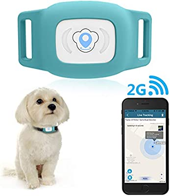 Blue BARTUN GPS Pet Tracker Cat Dog Tracking Device with Unlimited Range