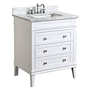 Kitchen Bath Collection KBC-L30WTCARR Eleanor Bathroom Vanity with Marble Countertop, Cabinet with Soft Close Function & Undermount Ceramic Sink, 30″, Carrara/White