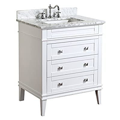 Eleanor 30-inch Bathroom Vanity (Carrara/White): Includes White Cabinet with Authentic Italian Carrara Marble Countertop and White Ceramic Sink - HIGH-END FURNITURE-GRADE CONSTRUCTION: All our vanities are made with solid wood and plywood only - absolutely no MDF or cheap particle board anywhere in this product AUTHENTIC MARBLE COUNTERTOP: Beautiful Carrara marble countertop imported from Italy (comes pre-installed on cabinet). Please note, due to natural variation of the stone, each countertop may vary from the pictures. No two slabs of marble are the same! SOFT-CLOSE MECHANISM: We use soft-close door hinges and/or drawer slides for all our bathroom vanities. This feature is typically only found in luxury furniture brands - bathroom-vanities, bathroom-fixtures-hardware, bathroom - 41ejGXhvhiL. SS400  -