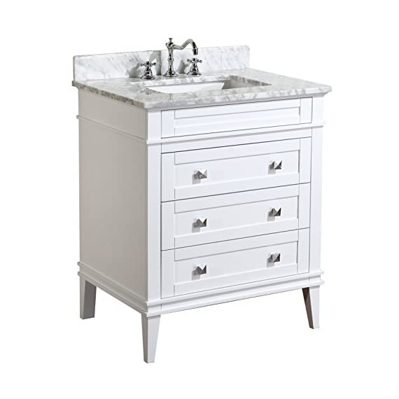 Eleanor 30-inch Bathroom Vanity (Carrara/White): Includes a White Cabinet, Soft Close Drawers, a Natural Italian Carrara Marble Countertop, and a Ceramic Sink - White cabinet with soft-close drawers Authentic Italian Carrara marble countertop. Color & pattern may vary from pictures. High-end furniture-grade construction. Made with 100% solid wood and plywood only! Absolutely no MDF or cheap particle board anywhere in this product. - bathroom-vanities, bathroom-fixtures-hardware, bathroom - 41ejGXhvhiL. SS570  -
