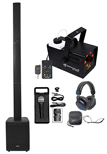 Gemini Rechargeable Line Array Portable PA DJ Speaker+Sub+Fogger+Mic+Headphones ()