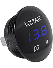 SODIAL(R) Universal Digital Monitor Voltimetro Impermeable voltaje Metro LED azul para DC 12V-24V Coche Motocicleta Auto Camion