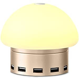 Jelly Comb 6-port USB Charging Station Smart Desktop Charger with LED Desk Bedside Lamp Touch Sensitive Control for Phones Pads 3-Level Romantic Dim Soft Lighting, silver