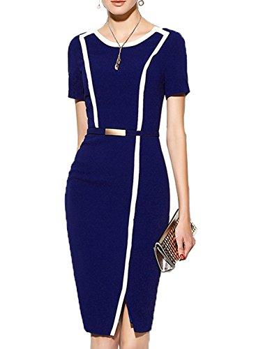 MUSHARE Women's Short Sleeve Colorblock Belt Midi Cocktail Party Penci Dress (Medium, Blue)