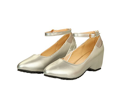 VogueZone009 Women's Round-Toe Buckle PU Solid Kitten-Heels Pumps-Shoes Silver AFetEkX