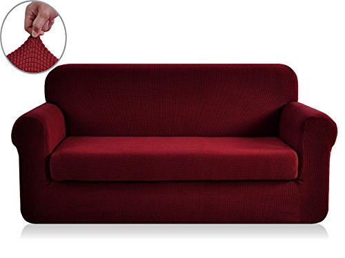Chunyi 2-Piece Jacquard Polyester Spandex Sofa Slipcover (Loveseat, Wine) (Bed Slipcover)