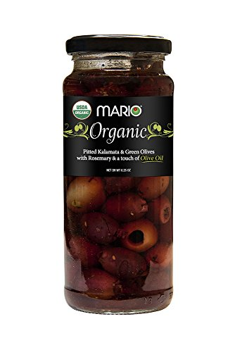 Mario Camacho Greek Organic Kalamata and Green Olives Pitted with Rosemary and Olive Oil, 6.25 Ounce ()