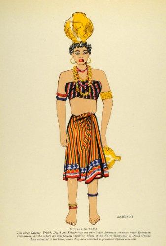 1941 Lithograph Dutch Guiana Guyana Traditional Costume Skirt Handmade Jewelry – Original Lithograph