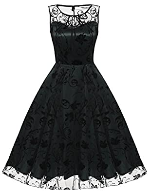 Women Vintage Lace Dress, Sleeveless Floral Embroidery Prom Cocktail Swing Dress