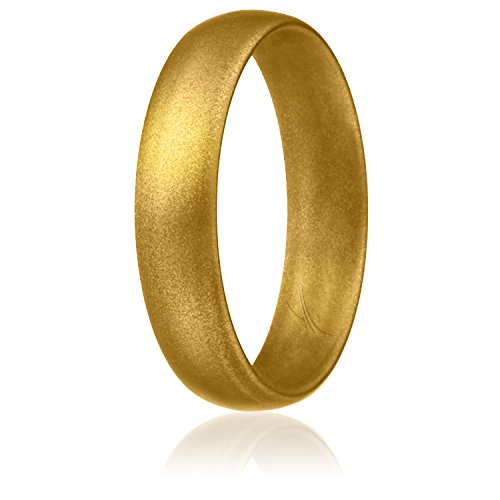 ROQ Silicone Wedding Ring for Women, Affordable Comfort Fit 6mm Love Metallic Silicone Rubber Wedding Bands - Gold - Size 8 from ROQ