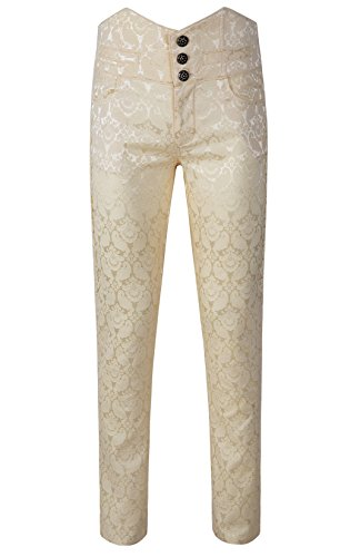 DarcChic Mens Obscura Trousers Pants Steampunk VTG Gothic Victorian (XL, Cream) ()