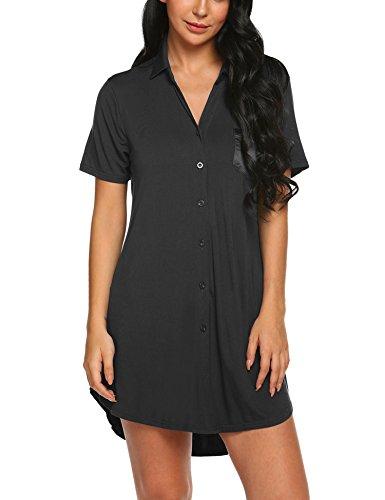 Goldenfox Lady Sexy Loungewear Boyfriend Sleepshirt with Front Pocket Button Down Pajamas (Black, ()
