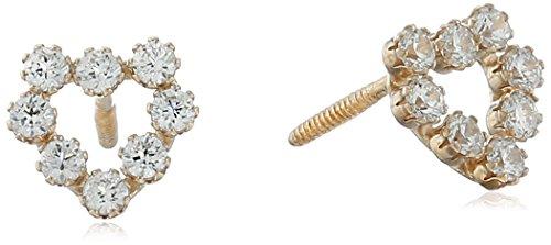 Hallmark Jewelry Baby & Kid's 14k Gold Cubic Zirconia Heart Stud Earrings