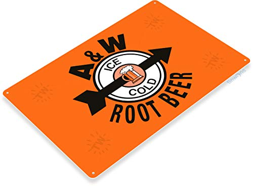 Tinworld Tin Sign A&W Retro Root Beer Metal Sign Decor Ice Cold Retro Cola Metal Sign Decor Kitchen Shop Store ()